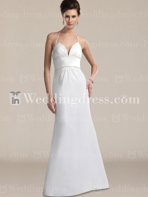 Simple Bridal Dress with Slim Halter Strap BC373