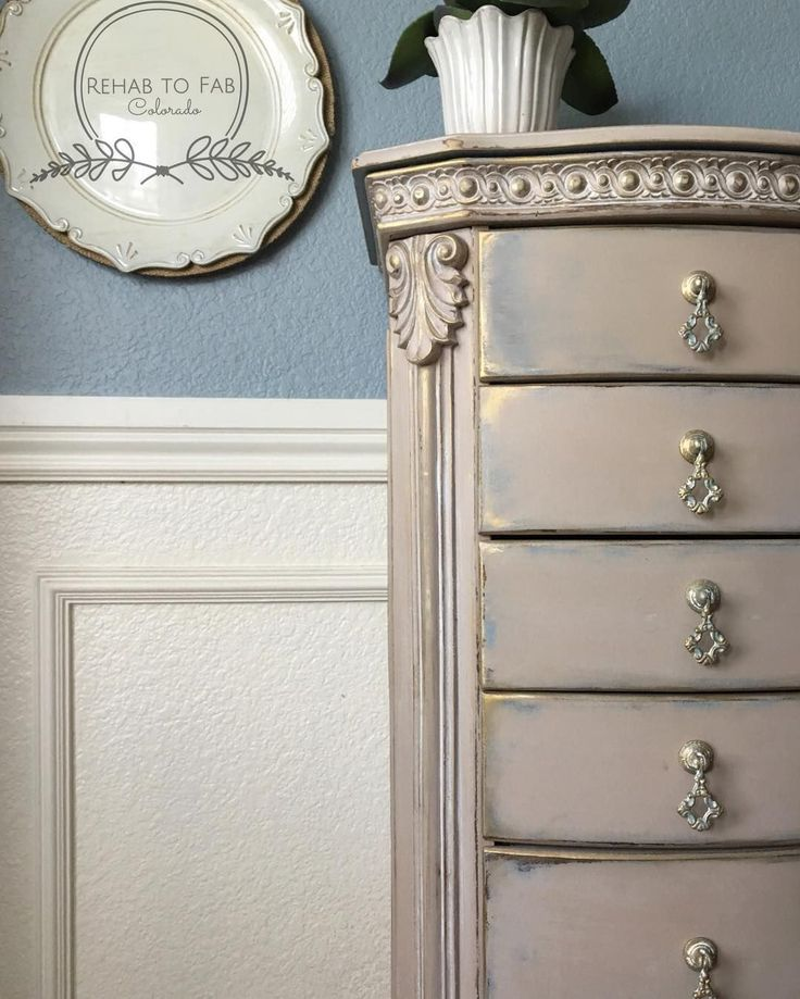 Ornate jewelry armoire painted and then highlighted with Modern Masters Metallic Paint | Project by Rehab to Fab in Colorado