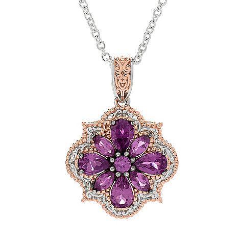 159-198 - Gems en Vogue 2.51ctw Color Change Purple Garnet Flower Pendant