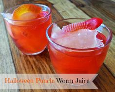Worm Juice Punch      3/4 Gallon Hawaiian Punch (Fruit Juicy Red)     2 Liters 7UP     1 cup Apple Juice + juice for ice cube trays    ...
