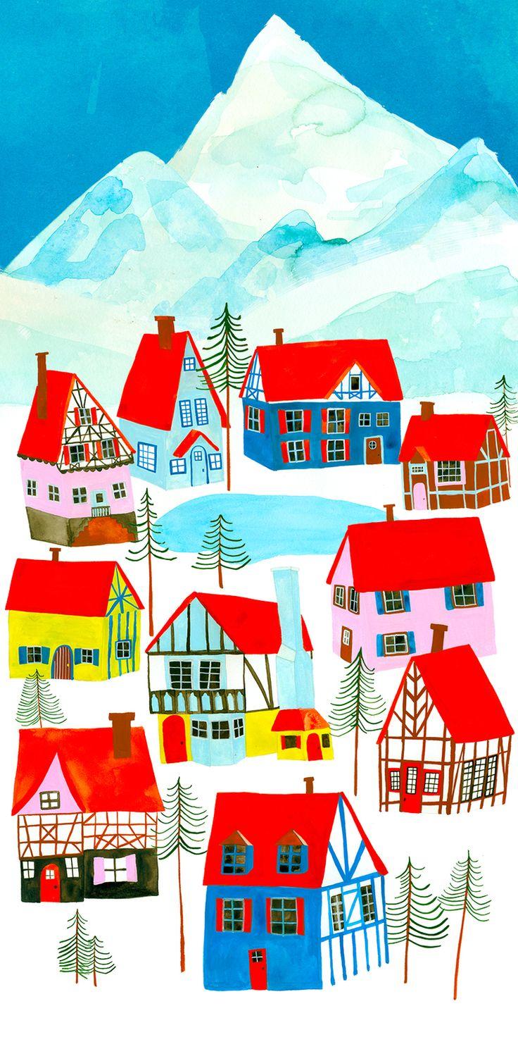 Anisa Makhoul  Christmas, village, illustration, swiss, cottages, ski, winter, wonderland