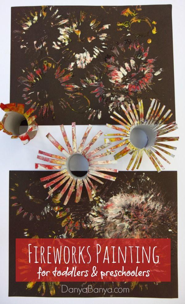 Fireworks Painting for toddlers and preschoolers ~ Danya Banya