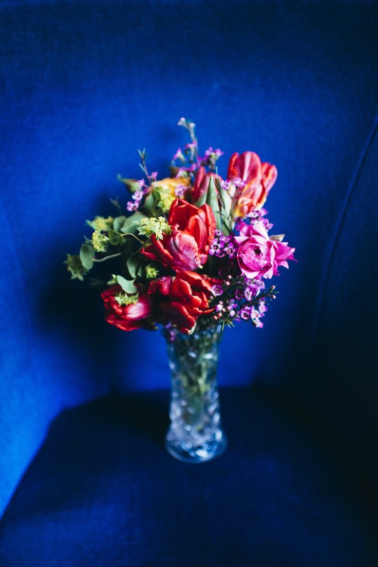 Striking bridal bouquet with parrot tulips and delicate wax flower by east London florist Hiding in the City Flowers