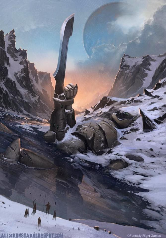 A fallen colossus. Various fantasy worlds have a history that includes a golden age, or a time of great wonders, now long past. This, an incredible creation of war, fallen long ago by the look of it, hints at such a world.