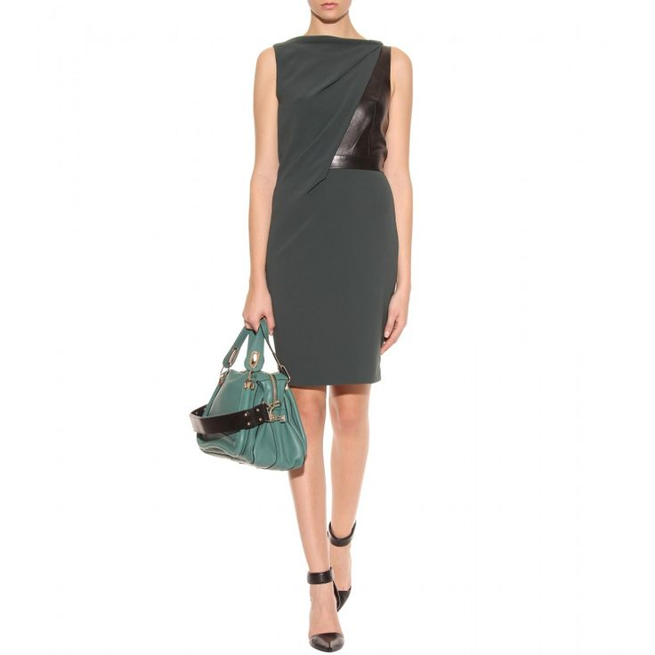 mytheresa.com - Alexander Wang - LEATHER ACCENTED DRAPED DRESS - Luxury Fashion for Women / Designer clothing, shoes, bags