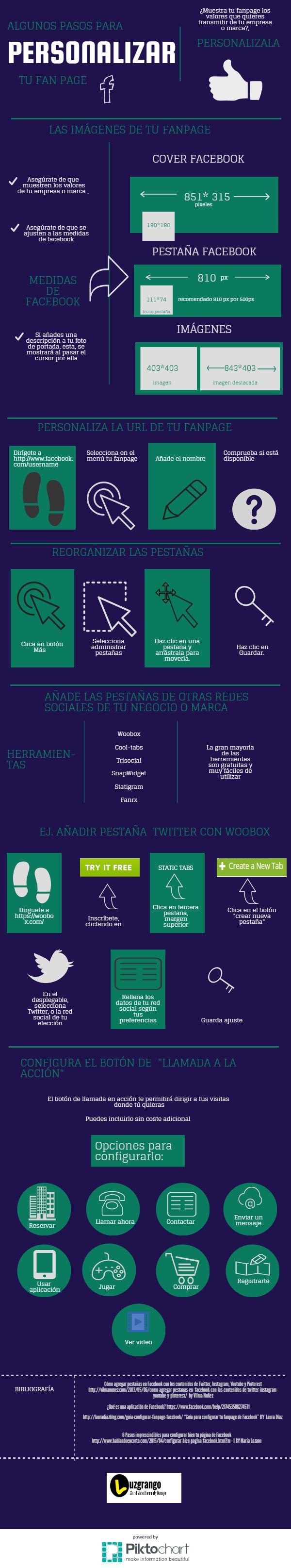 Cómo personalizar tu fan page de Facebook #infografia #infographic #socialmedia