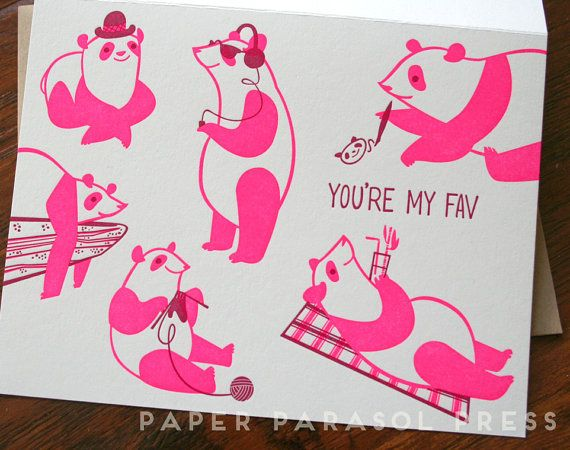 You're My Fav Neon Pink Panda Letterpress by paperparasolpress, $5.15 #paperparasolpress #pandas #panda #neon