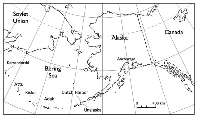 A map of the Bering Sea region.