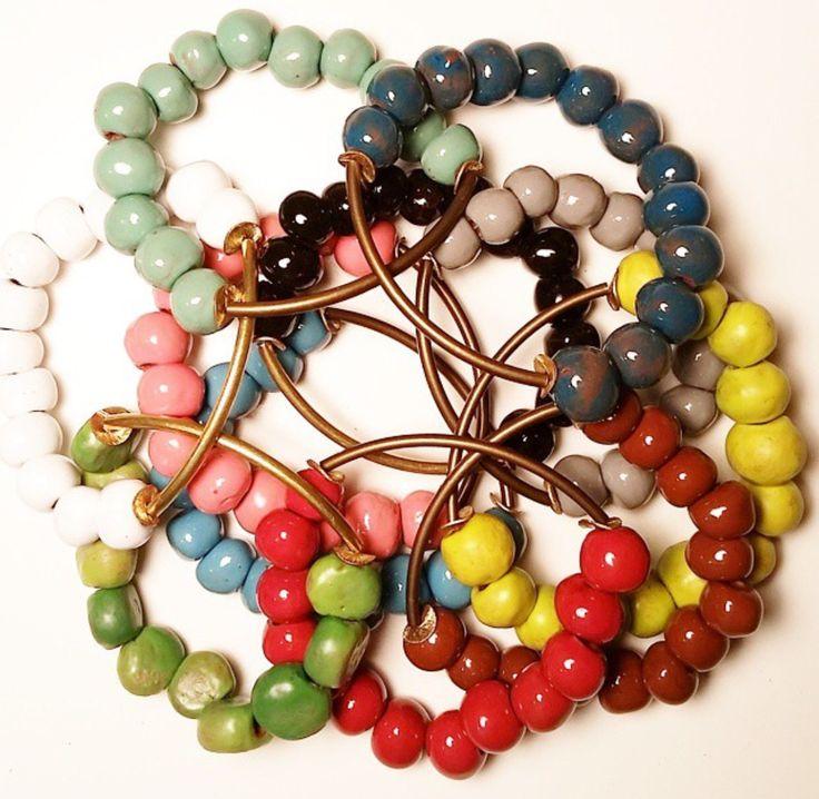 BELJOY bracelets ~ Clay beads handmade in Haiti.  We love these new arrivals!  Beljoy is a wonderful company restoring dignity and inspiring change by creating jobs in Haiti.   www.jbandme.com #jbandme