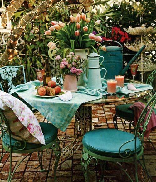 : Ideas, Turquoise, Outdoor Living, Color, Garden Party, Gardens, Patio, Outdoor Spaces