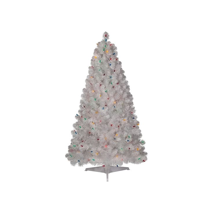4.5ft Prelit Artificial Christmas Tree White Alberta Spruce Multicolored Lights - Wondershop