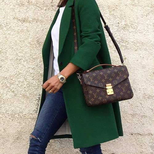 green-coat-with-louis-vuitton-bag- How to look stylish with comfy clothing http://www.justtrendygirls.com/how-to-look-stylish-with-comfy-clothing/