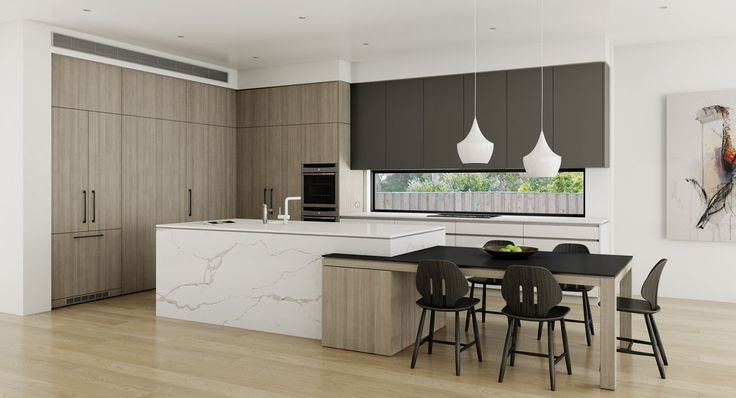 Large modern kitchen combining dining table and island. Strathfield, NSW