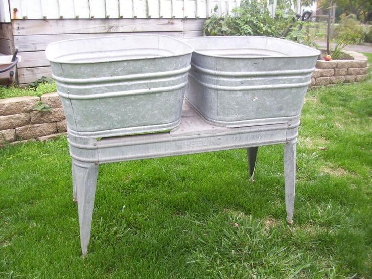 Vintage Wheeling Galvanized Double Wash Tub - Primitive Wash Tubs