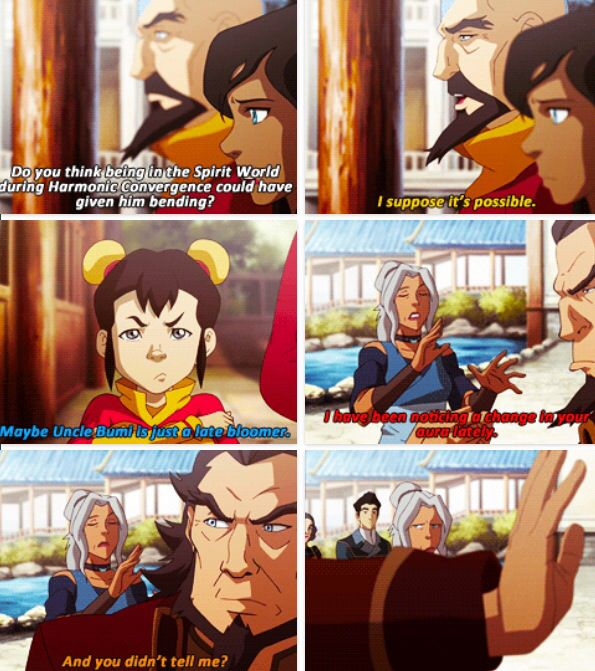 Legend of Korra: Kia why did you not warn us earlier about bumi's aura!?