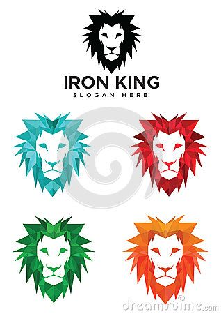 Lion head logo with 4 different colour style