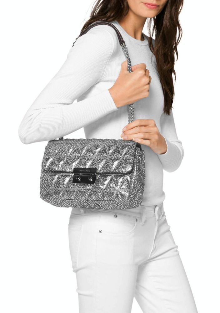cebea7d9b340 Michael Kors Sloan Large Chain Shoulder Bag Silver NWT #MichaelKors  #ShoulderBag