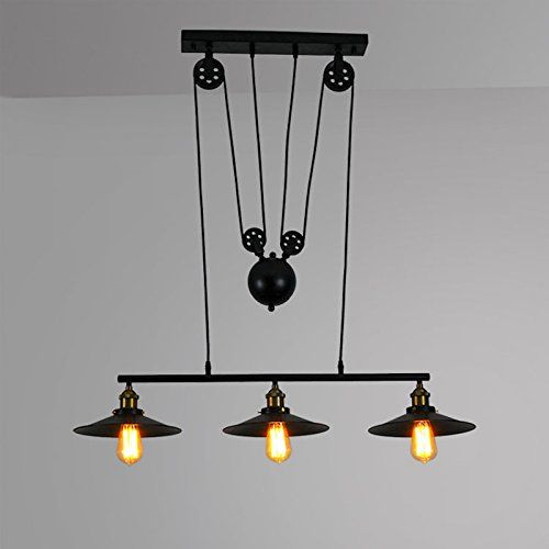 Winsoon American Country Style Pulley Droplight Antique Retro Iron Pendant Ceiling Lighting Adjustable Wire Lamps (3 Heads) *** Wow! I love this. Check it out now! : home diy garden