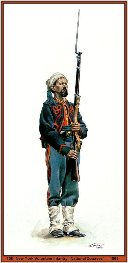 """""""Preeeesent 'Harmms !""""..... 10th New York Volunteer Infantry, """"National Zouaves"""", ca. 1863.  Print by Don Troiani."""