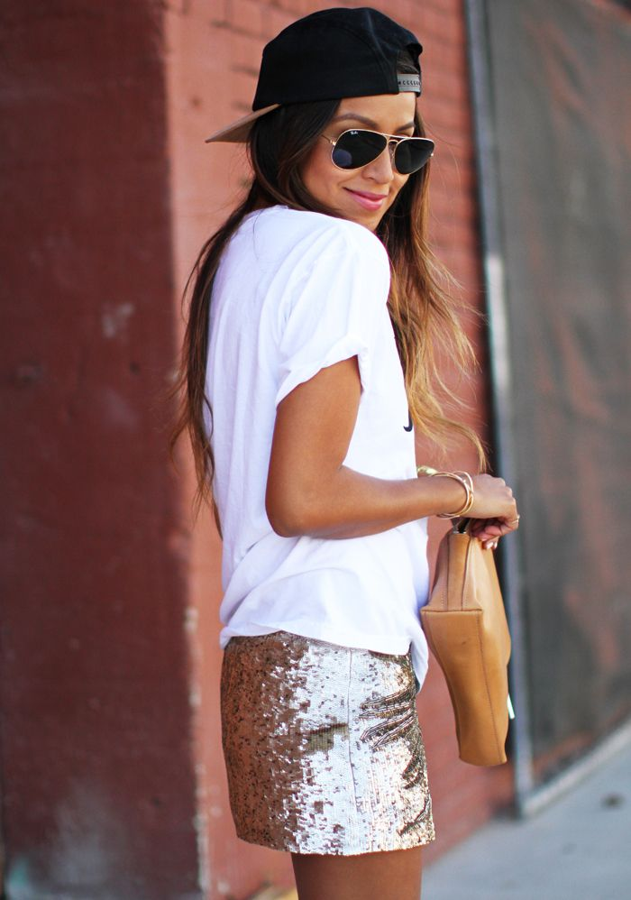 dressed down sequin skirt