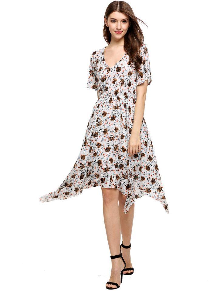 Blanco Mujeres Casual manga corta de impresión floral V cuello asimétrico vestido túnica dresslink.com