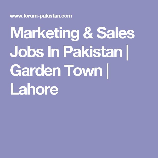 Marketing & Sales Jobs In Pakistan | Garden Town | Lahore