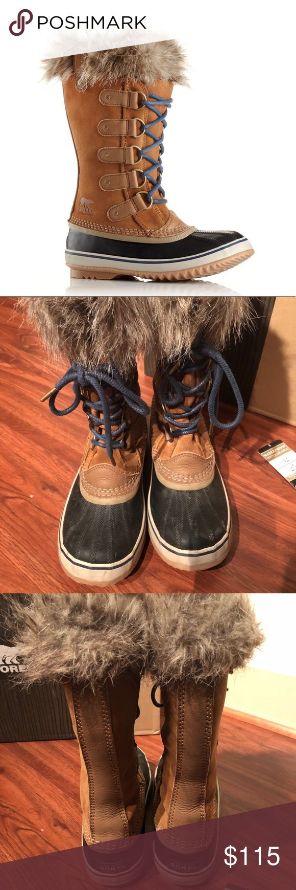 Sorel Joan of Arctic size 7.5 Boots Worn for one trip! They keep your feet warm and dry and are super cute, but I live in Texas and don't need them anymore.   UPPER: Waterproof suede leather upper. Faux fur cuff. Seam-sealed waterproof construction. INSULATION: Removable 6 mm recycled felt inner boot. MIDSOLE: 2.5 mm bonded felt frost plug. OUTSOLE: Handcrafted waterproof vulcanized rubber shell with herringbone outsole.  SOREL rated: -25° fahrenheit / -32° Celsius. Weight: 31 oz / 879 g…