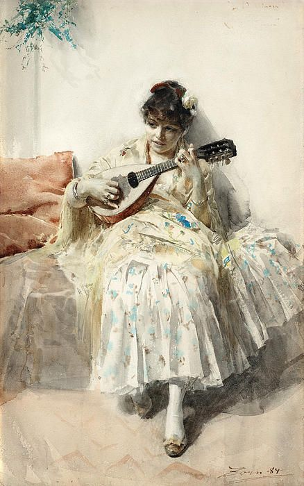♪ The Musical Arts ♪ music musician paintings - Anders Zorn | Girl Playing Mandolin