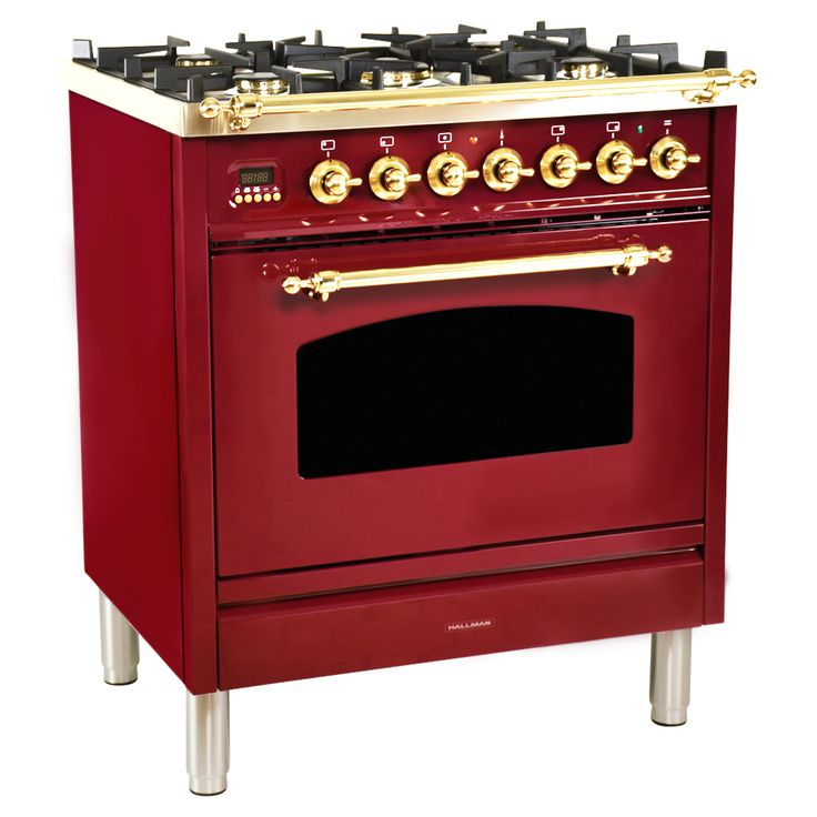 30 in. 3.0 cu. ft. Single Oven Dual Fuel Range with True Convection, 5 Burners in Burgundy | HGR3002DFBG