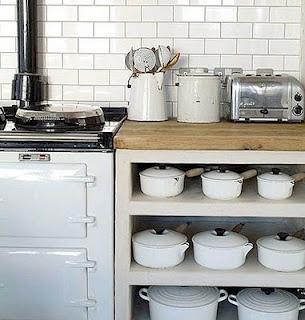 Stove. Subway tiles. Le Creuset.: Lecreuset, White Tile, Open Shelves, Living Rooms Design, Crucible, White Subway Tile, Metro Tile, Country Kitchens, White Kitchens