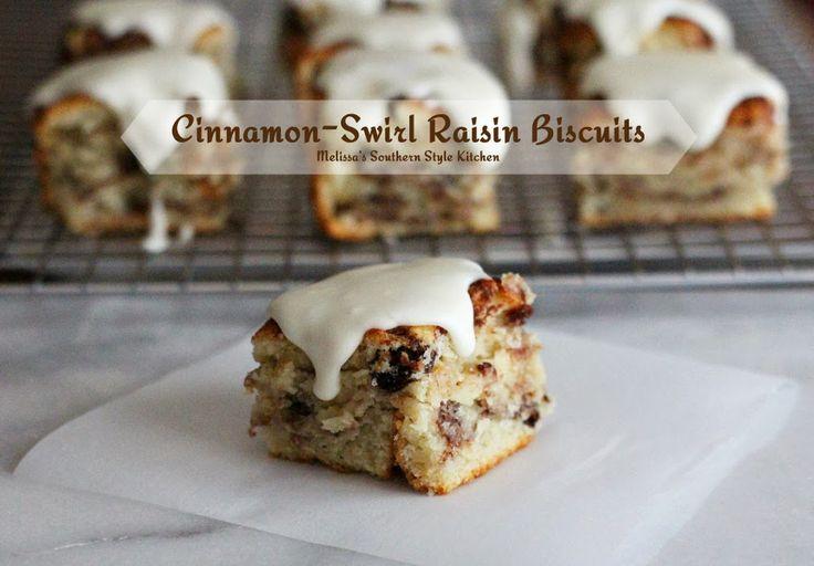 Melissa's Southern Style Kitchen: Cinnamon-Swirl Raisin Biscuits