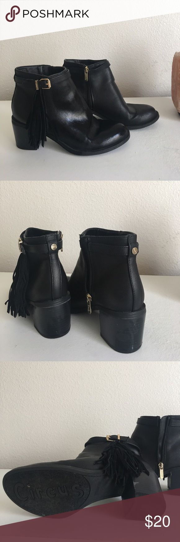 👡 Circus Sam Edleman Booties 👡 NWOT Sam Edleman Circus Booties 👡👡                                    Color: Black.                                                                                     Detail: Fringe/ Gold Buckle.                                                               Size: 8 Circus by Sam Edelman Shoes Ankle Boots & Booties