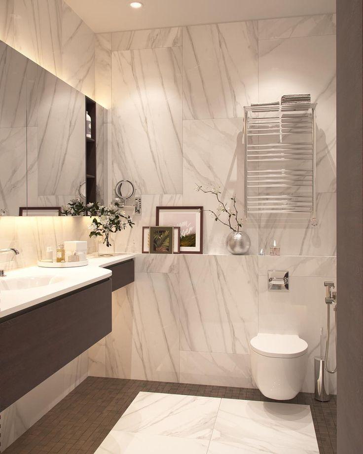 """Новый проект - буквально """"только-только из печи""""! Мрамор (ну, или плитка """"под мрамор"""") украсит любую ванную!  #работы_estee #estee_design"""