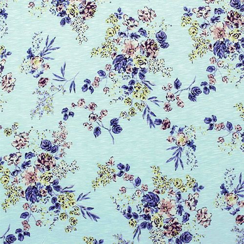 purple pink floral on light blue slub cotton jersey blend