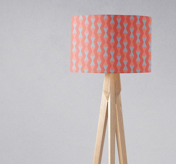 Coral Lampshade Mid Century Modern Geometric Lampshade Coral