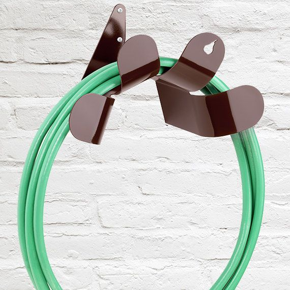 SM Chocolate Brown Steel Hose Holder-Garden Hose Holders-Metal Hose Hanger-Garden Hose Reel-Modern Hose Holder-Pearhut-Flower Hose Holder