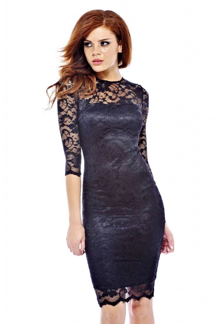 Black Long Sleeve Lace Midi Dress - Colorful Dress Images of Archive