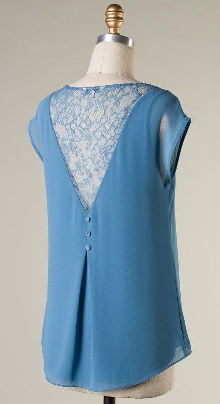 Lace Maggie Top in Blue