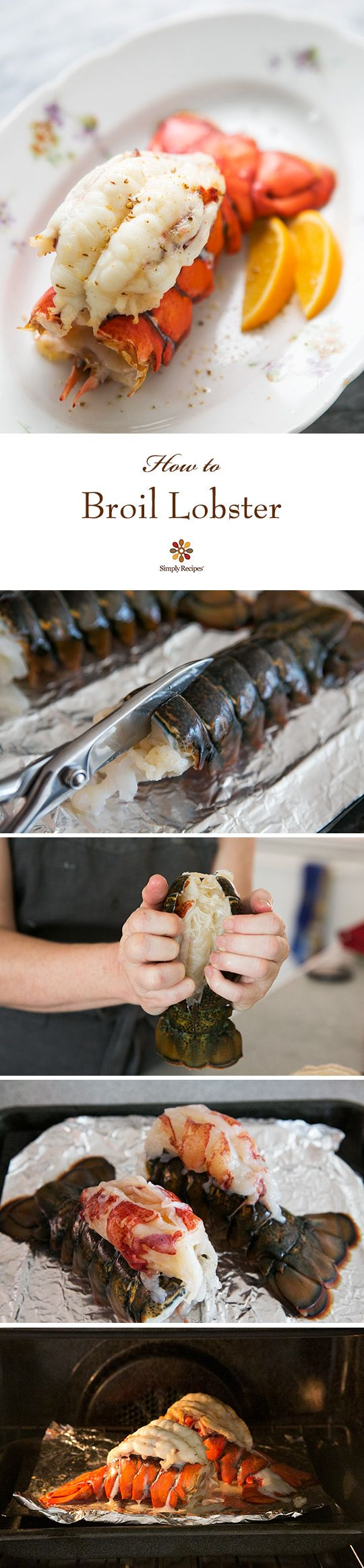How to broil lobster tail, such an easy and elegant presentation. Recipe includes a sauce of brown butter and toasted hazelnuts ~ SimplyRecipes.com