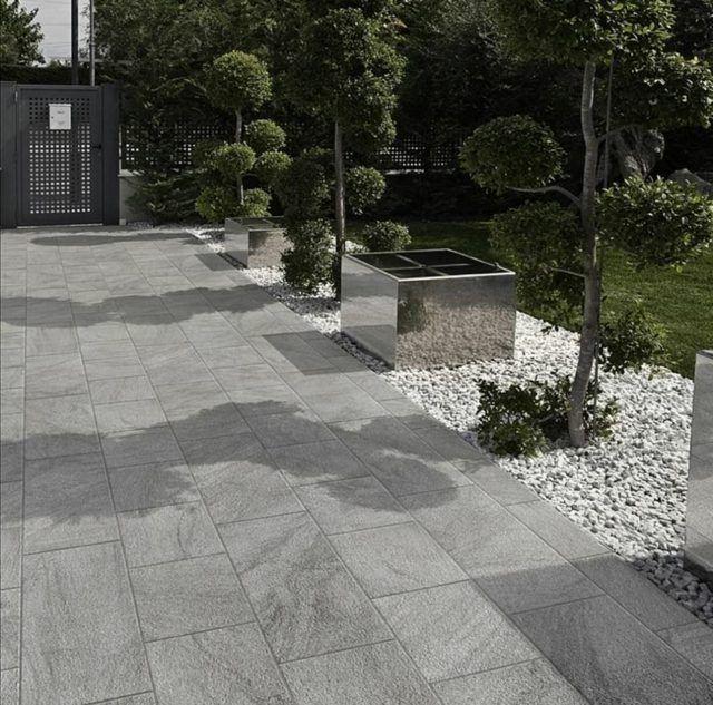 sol de terrasse en grès cérame, aspect de pierre grise