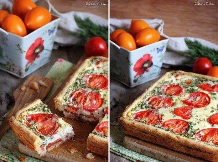 Сочный, нежный сырно-помидорный пирог на хрустящем сырном тесте