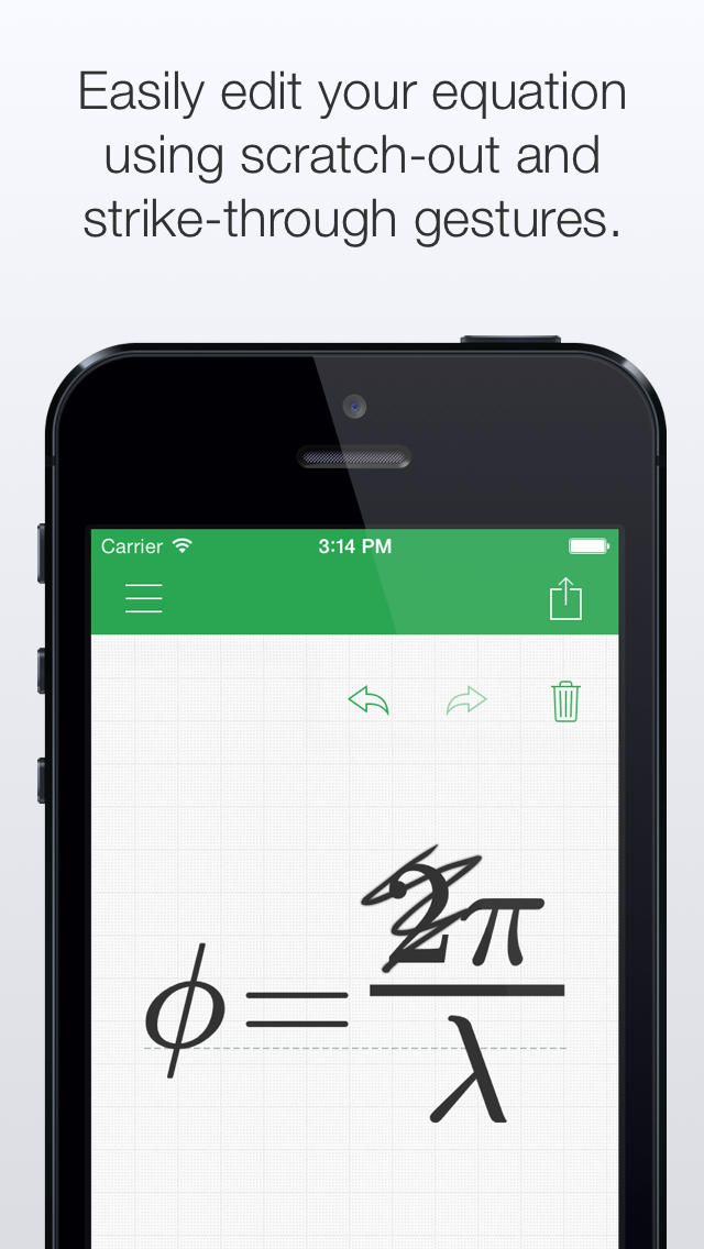 MyScript MathPad - Handwriting LaTeX generator iOS Universal Education  With MyScript® MathPad, handwrite your equations or mathematical expressions on your screen and have them rendered into their digital equivalent for easy sharing. Render complex mathematical expressions easily using your handwriting with no constraints. The result can be shared as an image or as a LaTeX* or MathML* string for integration in your documents or even share to other external computation software like…