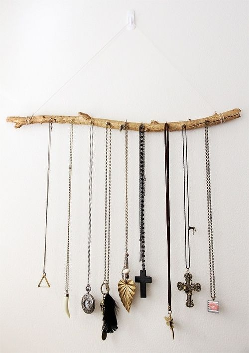 Twig necklace organizer. Simple and chic...