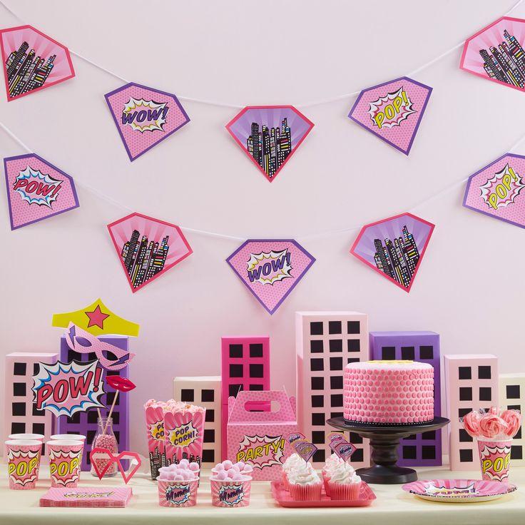 décoration anniversaire super héros fille - superhero girl party