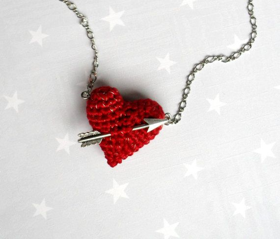 Crochet jewelry Necklace crochet red heart and arrow...Valentine heart necklace