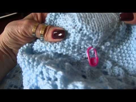 Amostra da manta azul em tricô Parte1 - YouTube