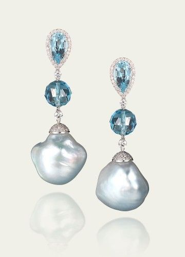 Tamsenz Blue Baroque Pearl Aquamarine Earrings