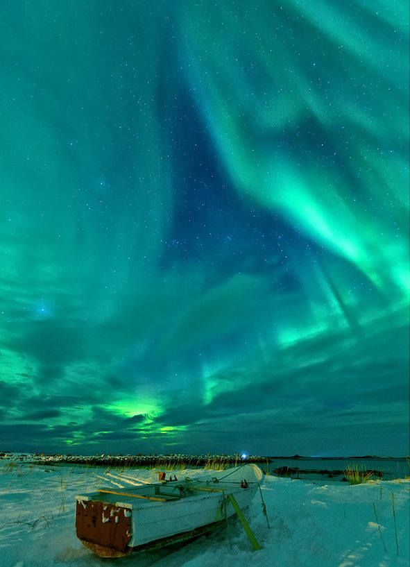 turquoise. northern lights in Norway
