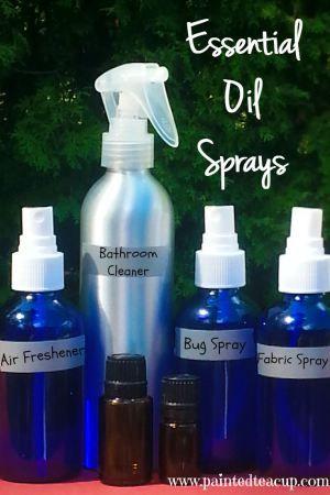 4 Easy DIY essential oils sprays. Bathroom cleaning spray, air-freshening spray, bug spray and fabric/carpet spray. All natural sprays for your home. www.paintedteacup.com