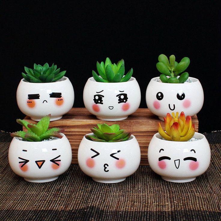 Criativo Bonito Expressão Plantas Suculentas Em Vasos de Cerâmica Pequenos Vasos de Flores Plantador DIY Para Enfeites de Mesa de Escritório Decoração(China (Mainland))